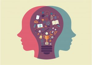 human head and lightbulb with icons about education