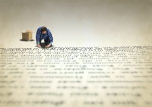 Man doing typography and writing lines of text
