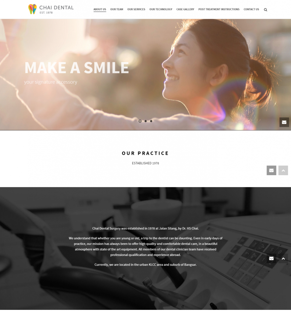 screenshot of dental homepage