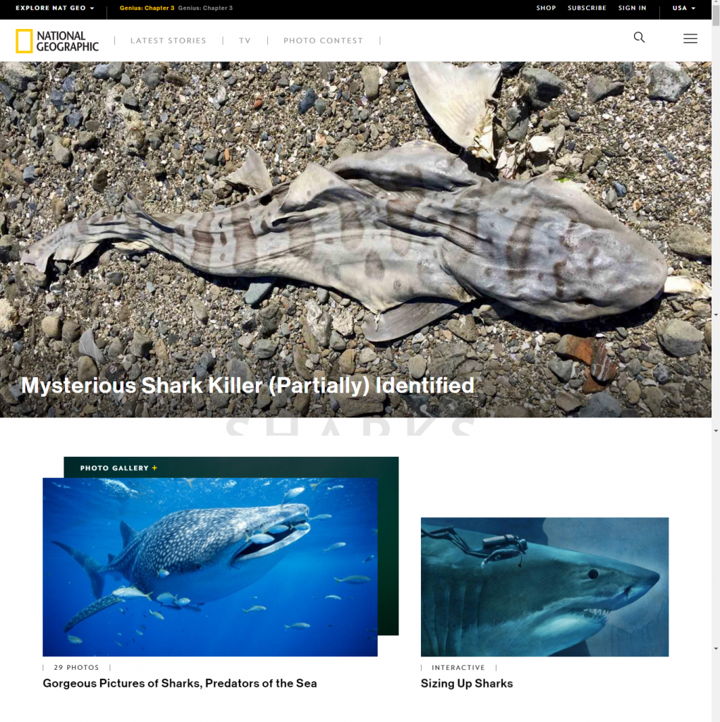 National geographic homepage with image of dead shark