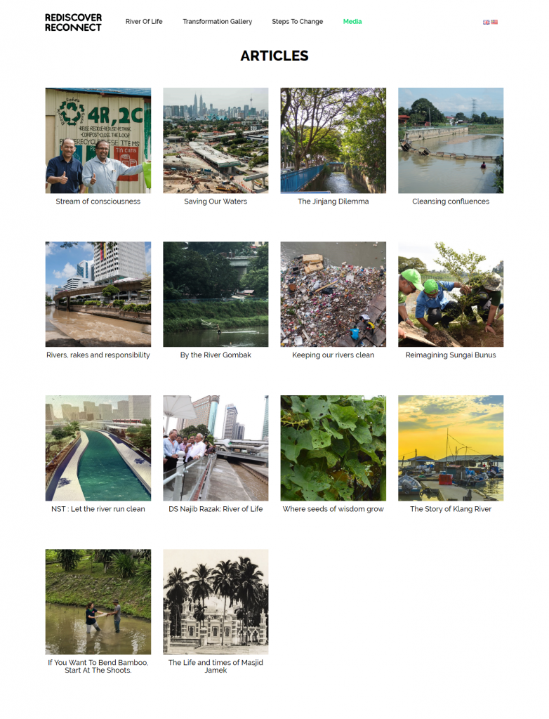 environmental website with articles