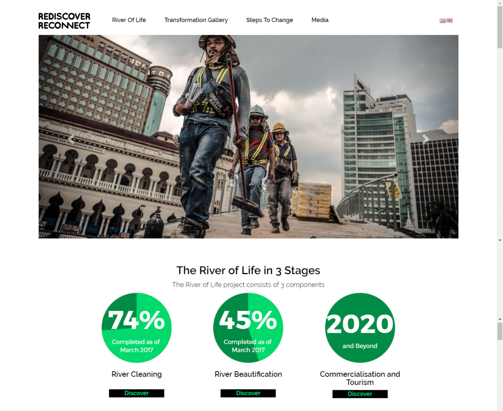 website with image of construction worker and some statistics.